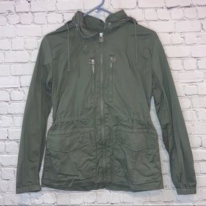 Gap Army Green Tie Waist Full Zip Hooded Jacket